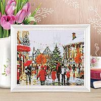"Роспись по холсту ""Рождество в Европе"" по номерам с красками по 3 мл+ кисти+крепеж 30*40"