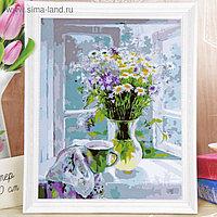 """Роспись по холсту """"Полевые цветы на окне""""по номерам с красками по 3 мл+ кисти+крепеж 30*40"""