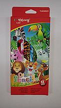 """Карандаши цветные """"Yalong"""" Мир животных. 12 цветов."""