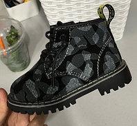 Ботинки (тимбы) черные с принтом унисекс размеры 21-25