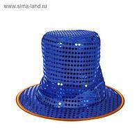 "Карнавальная шляпа ""Цилиндр"", р-р 56-58, цвет синий"