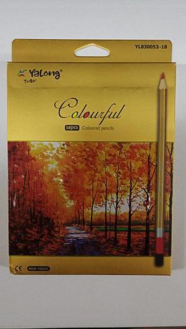 """Карандаши цветные """"Yalong""""-Colourful. 18 цветов., фото 2"""