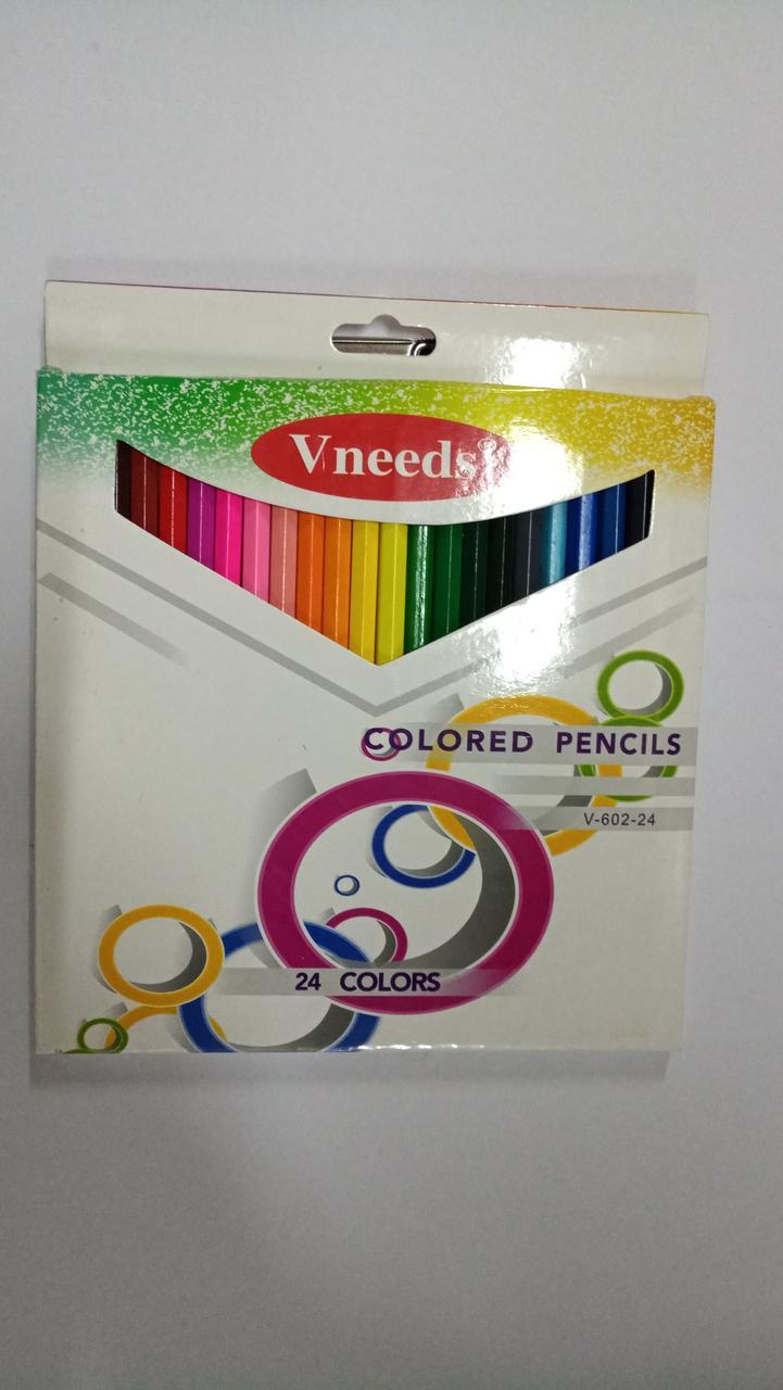 """Карандаши цветные """"Vneeds"""". 24 цветов."""