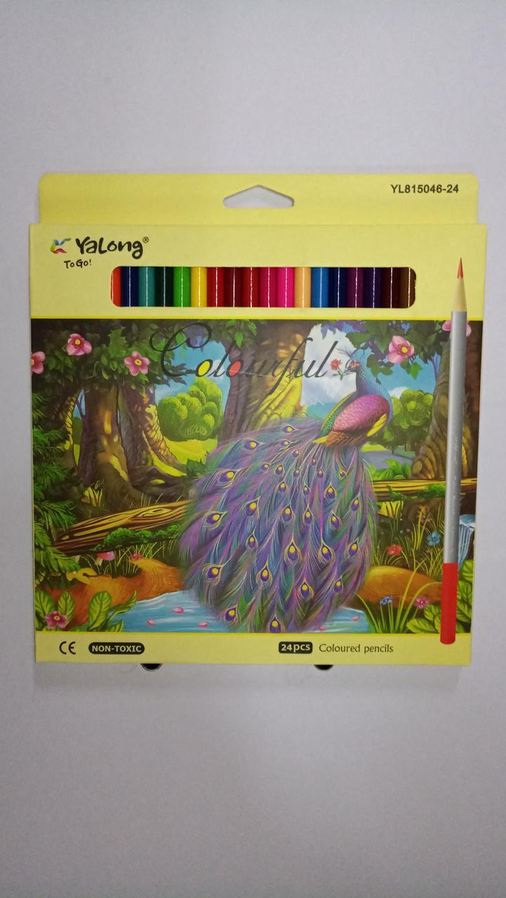 """Карандаши цветные """"Yalong"""". 24 цветов."""