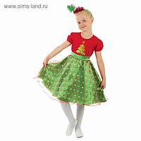 """Карнавальный костюм """"Ёлочка в горошек"""", платье, ободок, р-р 28, рост 104 см"""