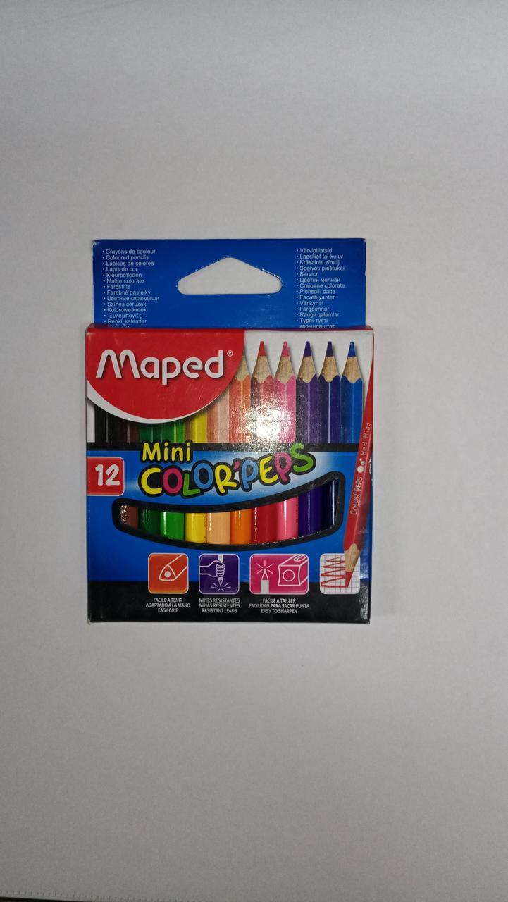 """Мини цветные карандаши """"Maped"""". 12 цветов."""