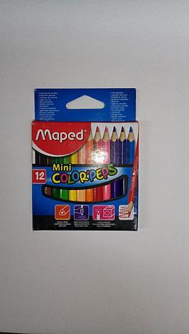 """Мини цветные карандаши """"Maped"""". 12 цветов., фото 2"""