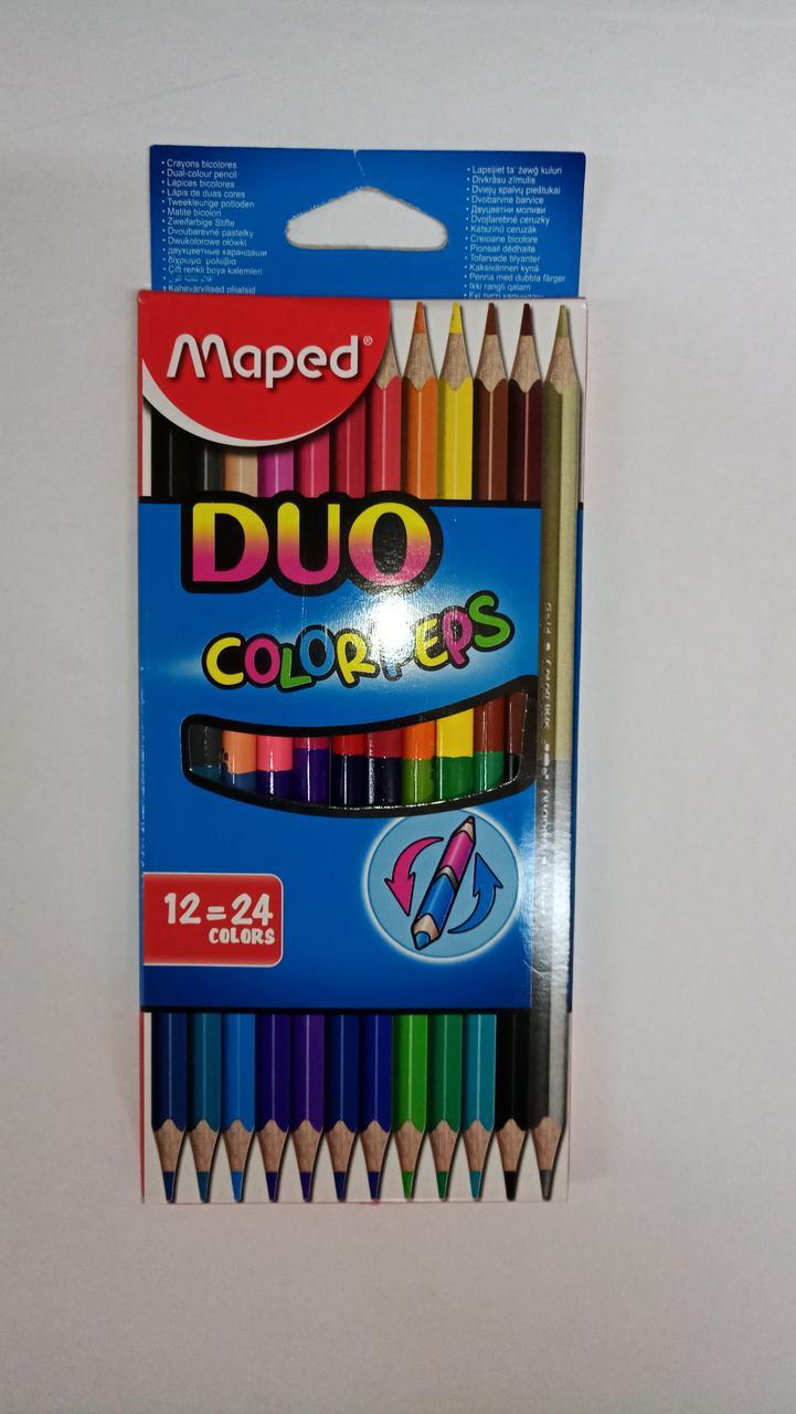 """Двухсторонние карандаши """"Maped"""". 12 штук-24 цвета"""