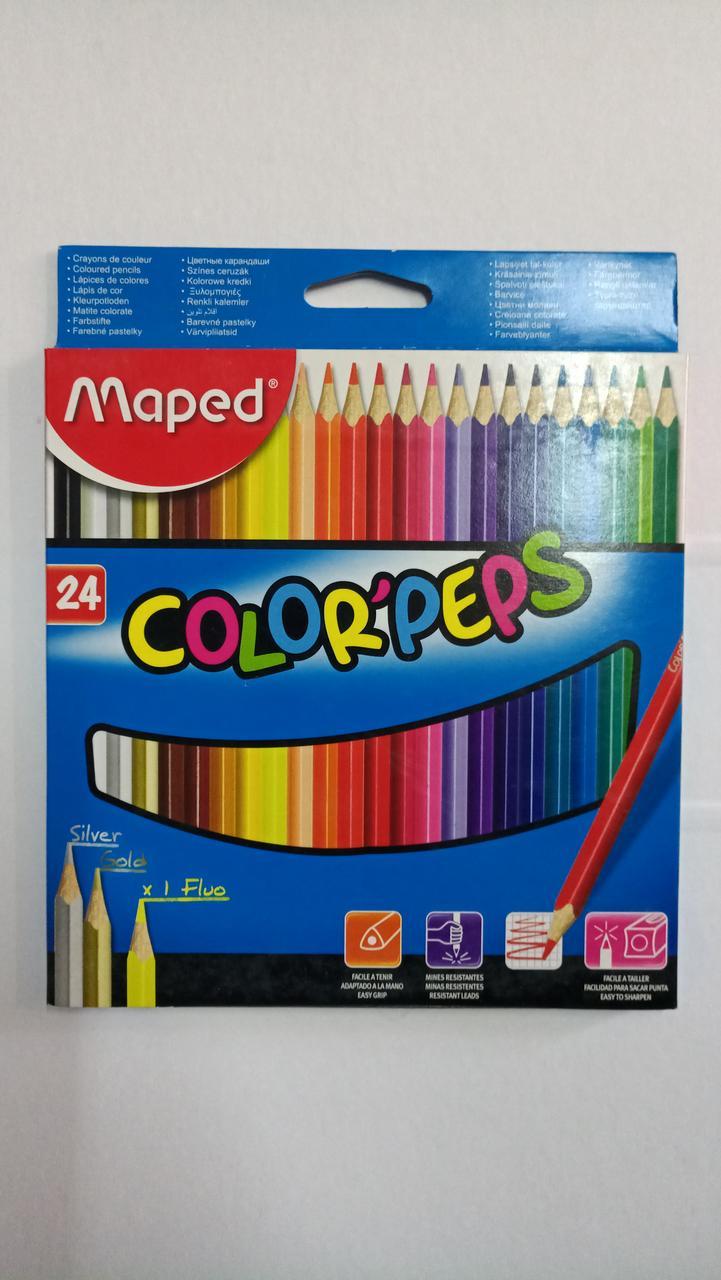 """Двухсторонние карандаши """"Maped"""". 24 цвета."""
