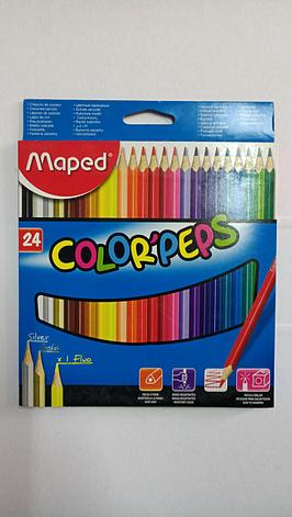 """Двухсторонние карандаши """"Maped"""". 24 цвета., фото 2"""