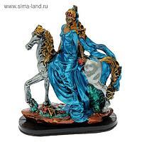 "Сувенир ""Девушка на лошади"" серебро, цветная"