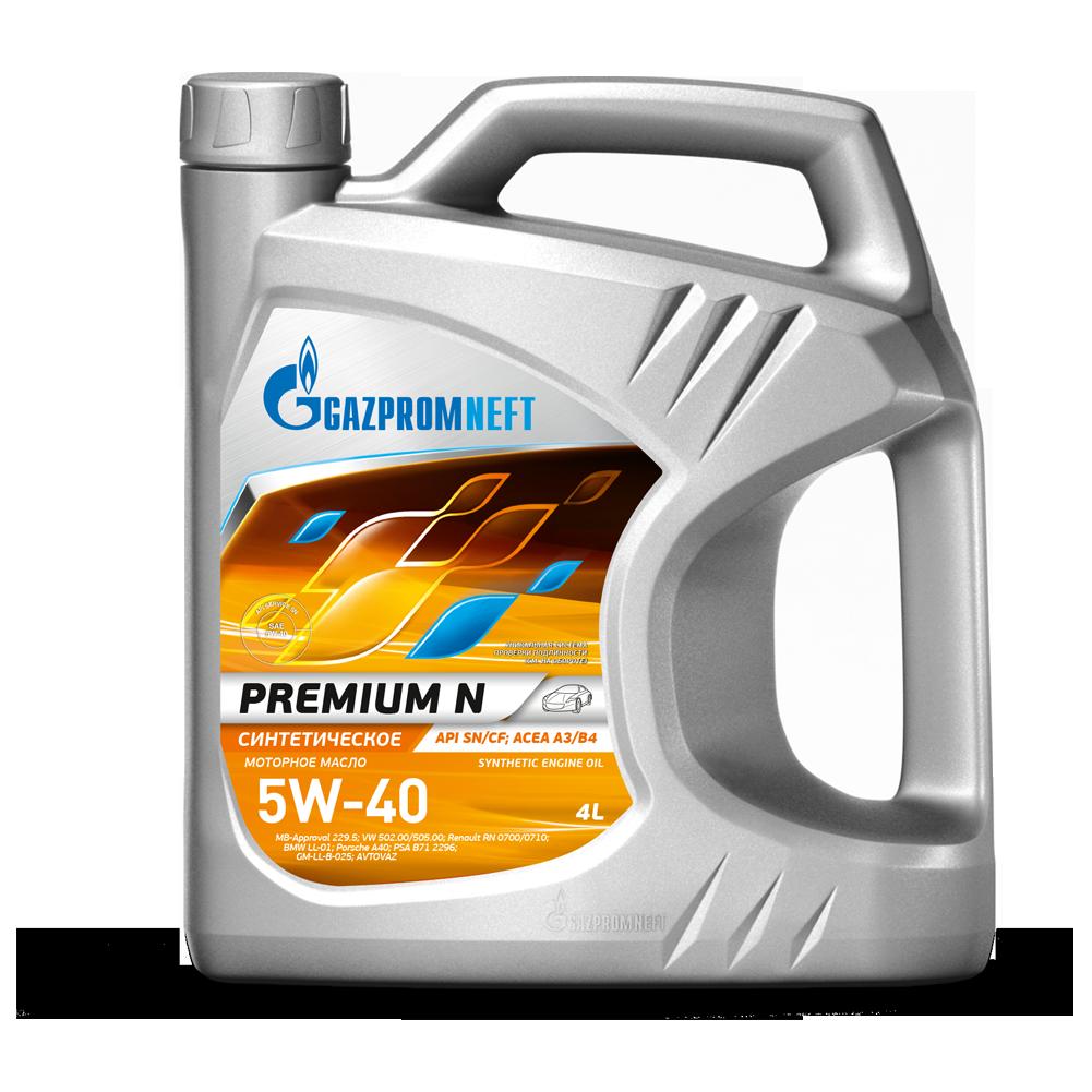 Синтетическое масло Газпром Premium N 5W-40 канистра 4 л.