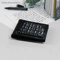 Портмоне мужское, 1 отдел, для карт, наружный карман, цвет чёрный