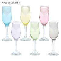 """Набор бокалов для шампанского 200 мл """"Крокус"""", 6 шт, гравировка"""