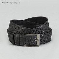 Ремень мужской, ширина 3.5 см, винт, плетение, цвет чёрный