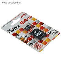 Карта памяти Mirex microSD, 64 Гб, SDXC, UHS-I, класс 10, с адаптером SD