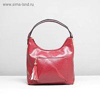 Сумка женская, 2 отдела на молнии, 2 наружных кармана, цвет красный