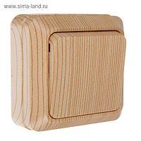 """Выключатель TDM """"Ладога"""", одноклавишный, накладной, 10 А, цвет сосна, SQ1801-0043"""