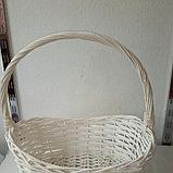 Корзина плетеная  из лозы Белая 44 см, фото 2