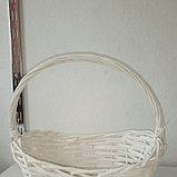 Корзина плетеная из лозы Белая 30 см, фото 3