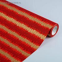 """Бумага упаковочная крафт """"Береста"""", красный-белый, 0.5 х 10 м"""