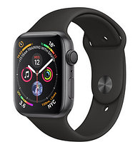 Apple Watch Series 4 44mm Space Grey Aluminium Case with Black Sport Band, фото 1
