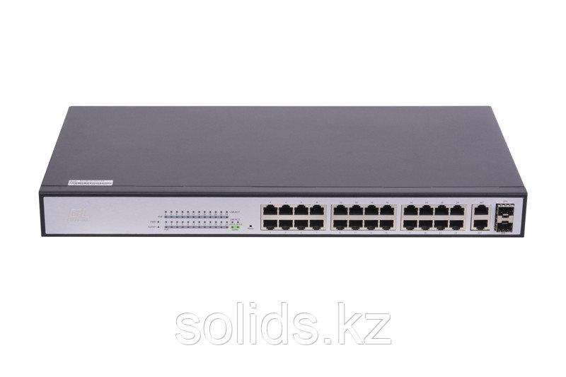 Web Smart управляемый, 24 PoE (802.3af/at) портов 100Мб/с, 2 ComboSFP 1000Мб/с, 300Вт