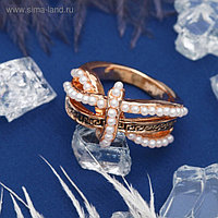 """Кольцо """"Завиток"""", размер 19, цвет белый в золоте"""