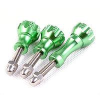 Комплект алюминиевых болтов зеленого цвета (2 коротких, 1 длинный), фото 1