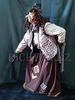 Костюм карнавальный Баба Яга женский нос крючком. Платок клетка Яга костяная нога