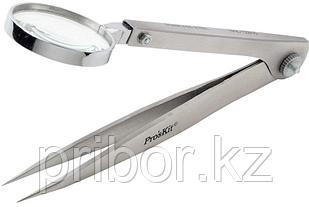 Pro'sKit 1PK-TZ015 Пинцет немагнитный с лупой 120мм