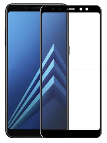 Противоударное защитное 3D стекло на Samsung Galaxy A8 2018 (черный)