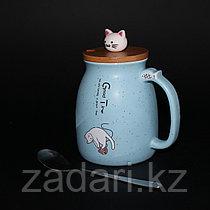 Кружка «Котик-Neko» с деревянной крышкой