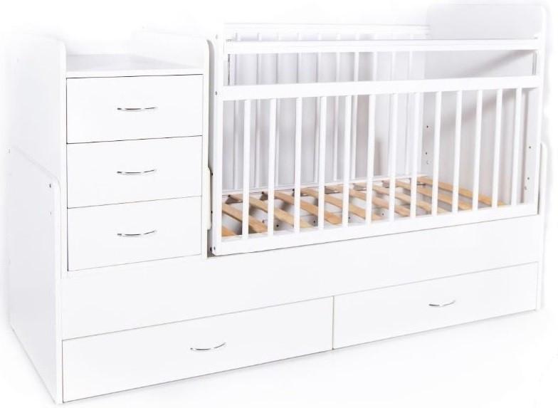 Bambini Кровать-трансформер детская Bambini M 01.10.01 Белая фасад МДФ