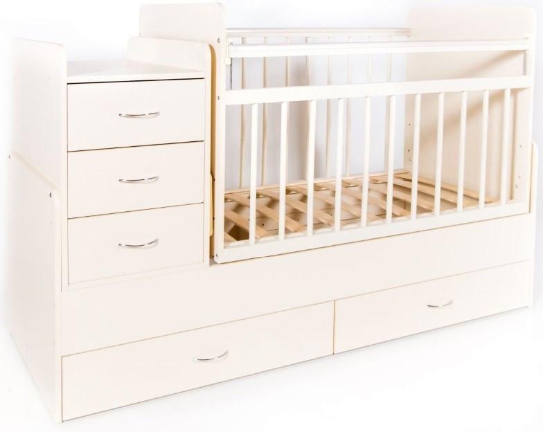 Bambini Кровать-трансформер детская Bambini M 01.10.01 Слоновая кость фасад МДФ