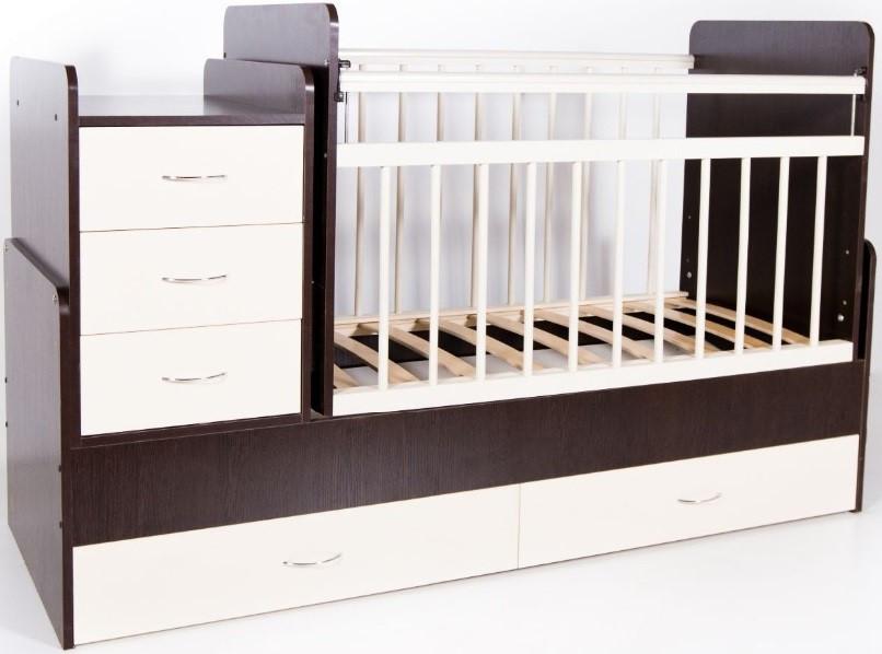 Bambini Кровать-трансформер детская Bambini M 01.10.01 Темный орех+Слоновая кость фасад МДФ