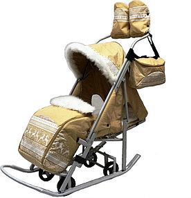 Мое детство Санки-коляска Тяни-Толкай Северные Узоры Бежевый