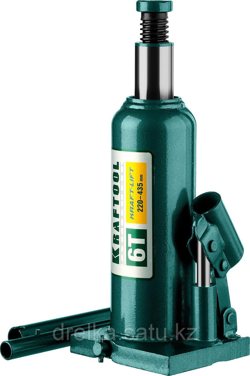 """Домкрат гидравлический бутылочный """"Kraft-Lift"""", сварной, 6т, 220-435мм, KRAFTOOL"""