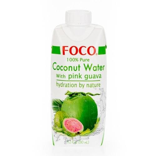 FOCO Вода кокосовая  с розовой гуавой  0,33 л