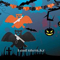 Бумажная гирлянда Летучая мышь для Хэллоуина (Halloween)