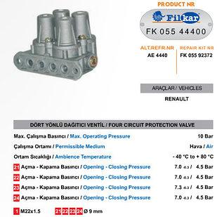 Клапан 4-х контурный Аналог AE4440 RVI 5010216965 Турция