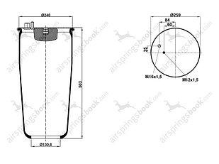 Пневмоподушка 4885N1P01 без стакана MAN TGM, TGA 81.43601.0160
