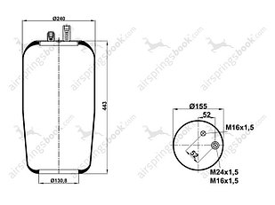 Пневмоподушка 4390N2 (2 штуц.) без ст. Mercedes-Benz 9423280101, ST4390-2S