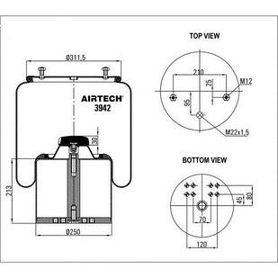 Пневмоподушка BPW36-1/1T66F-13.5 со стаканом метал. 3942K Airtech
