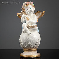 Фигура «Ангел со скрипкой улыбчивый» бело-золотой 25х21х46см