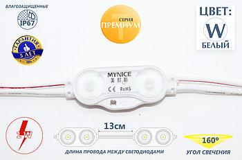 Двухточечные светодиоды с линзой (IP67) 1W, цвет - белый