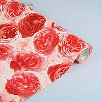 "Бумага упаковочная крафт ""Розы любви"", бело-красно-бордовая, 0.5 х 10 м"