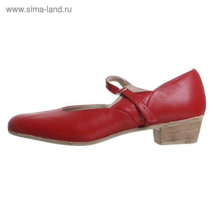 Туфли народные женские, длина по стельке 23,5 см, цвет красный - фото 2