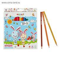Карандаши 24 цвета Melody, пластиковые, шестигранный корпус, d грифеля=2.6 мм, европодвес
