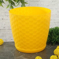 Горшок для цветов с поддоном 3 л 'Ротанг', цвет желтый